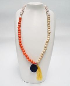 Women's Jewellery Online Australia | FN2805O Orange with Yellow Tassel Necklace | FAB