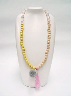Women's Jewellery | FN2805Y Yellow with Pink Tassel Necklace | FAB