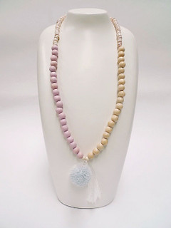 Women's Jewellery Online | FN2805P Pink with White Tassel Necklace | FAB