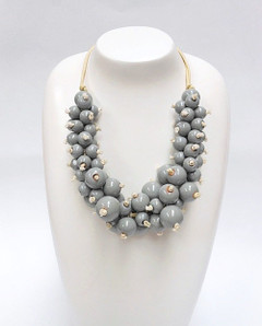 Women's Jewellery | FN2811G Chunky Grey Bulb Necklace | FAB