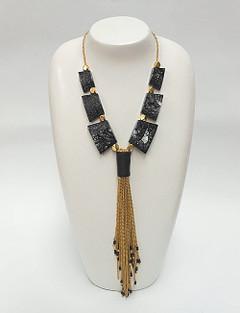 Women's Jewellery | FN2921 Statement Gold Tassel Necklace | FAB