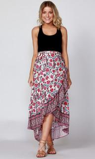 Women's Maxi Skirt | Flutter Floral Skirt | SASS