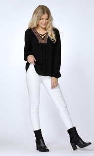 Women's Tops Online Australia | Elaine Embroidered Neck Blouse | SASS