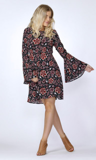 Women's Blouses | Tash Floral Bell Sleeve Dress | SASS