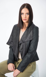 JACKETS FOR WOMEN AUSTRALIA |Cropped Leather Look Jacket | ICE EXPRESS