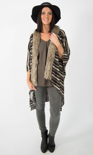 ONLINE JACKETS FOR WOMEN | Stripe Poncho with Fur Trim | ICE EXPRESS