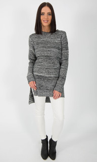 WOMEN'S JUMPERS | Hi Low Striped Knit Jumper in GREY | ICE EXPRESS