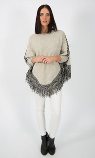 WOMEN'S TOPS ONLINE | Fringe Poncho Style Jumper | ICE EXPRESS