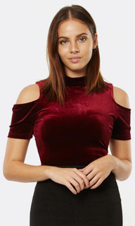 WOMEN'S TOPS AUSTRALIA | Cezanne Velvet Cold Shoulder Top | PIZZUTO