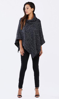 Women's Knits Online | Seeing Stripes Poncho | PIZZUTO