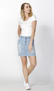 Ladies Skirts   Kailyn Seam Detail Denim Mini   SASS