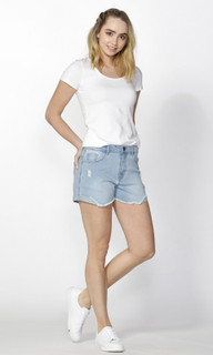 Women's Pants Online | Ari Shredded Denim Shorts | SASS