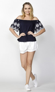 Women's Tops   Isobel Embroidered Sleeve Top   SASS