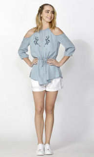 Ladies Tops Online   Aya Embroidered Chambray Top   SASS