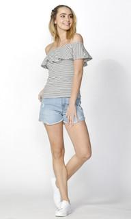 Ladies Tops Online   Ciara Ruffle Overlay Knit Top   SASS