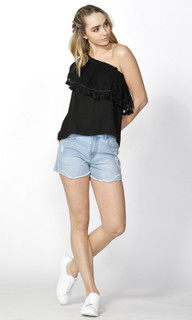 Ladies Tops Online | Tyosn Tassle One Shoulder Top | SASS