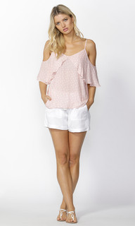 Ladies Tops Online | Corinne Ruffle Cami in Pink | SASS