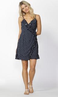 Ladies Dresses | Birdie Ruffle Wrap Dress in Navy | SASS