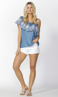 Womens Tops Online | Austin Embroidered Ruffle Top | SASS