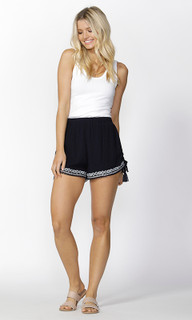 Womens Shorts Online | Ivy Embroidered Tie Shorts | SASS
