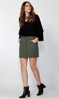 Ladies Skirts | Bernie Button Through Denim Skirt | SASS