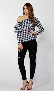 Ladies Tops Online | Ricki Check One Shoulder Top | SASS