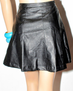 Faux Leather Flip Skirt