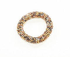 Women's Jewellery | FB2264 - 4 TONE METALLIC STRETCHY COIL BEADED BRACELET | FAB