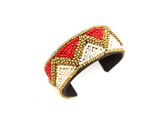 Women's Jewellery | FB2301 - FABRIC COVERED CUFF WITH BEADED ZIG ZAG PATTERN | FAB