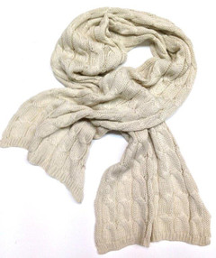 FA1959 - Cream Tight Knit Cable Scarf by FAB