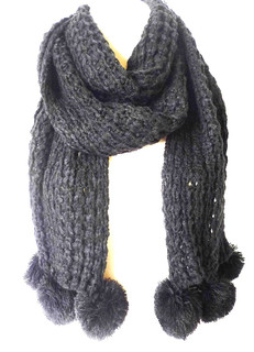 FA2098 - Long Knitted 3 Pom Pom Feature Scarf by FAB