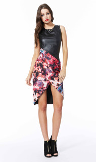 Ladies Dresses, Monet Madness PU Contrast Dress, COOPER ST