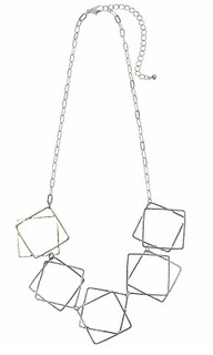 CNM443 - Necklace In Silver With Fine Square Shapes | MAJIQUE