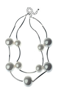 Women's Jewellery| CNM455 Necklace Pearls On Silver Chain| MAJIQUE