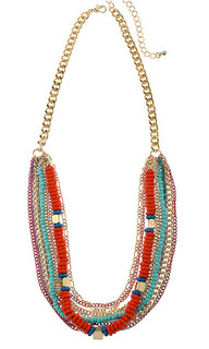 Women's Accessories | CNM390 - Necklace Multi Colour Row On Gold Chain | MAJIQUE