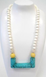 Women's Jewellery | FN2277 - Stone Bar & Wooden Bead Necklace by | FAB
