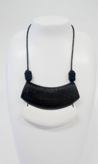 Women's Jewellery | FN2278 - Black and White Wooden Arc Necklace | FAB