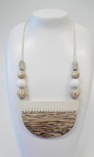 Women's Jewellery | FN2280 - Natural Toned Wooden Arc Necklace | FAB
