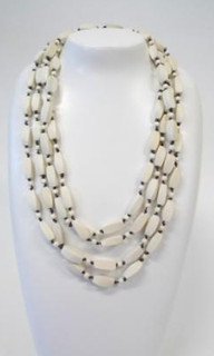 Women's Jewellery | FN2387 - Long White Wooden Beaded Necklace | FAB