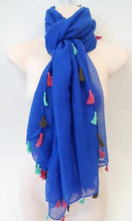Women's Accessories | FA2360 - Cobalt Tassel Scarf | FAB