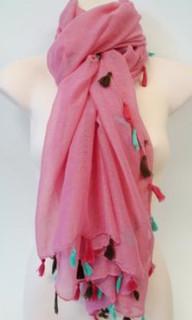 Women's Accessories in Australia | FA2361 - Pink Tassel Scarf | FAB