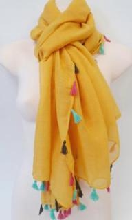 FA2363 - Yellow Tassel Scarf by FAB