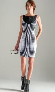 Ladies Dresses | Mesh Front Boat-Neck Sheath Dress | SHEHZARIN