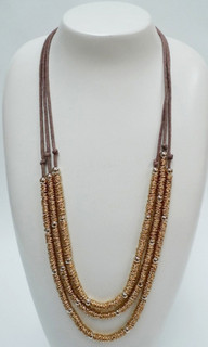 Women's Accessories | FN2566- Tan Multi-Strand Necklace | FAB