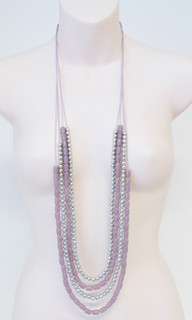 Women's Accessories | FN2590 - Pink/Silver Multi-Strand Necklace | FAB