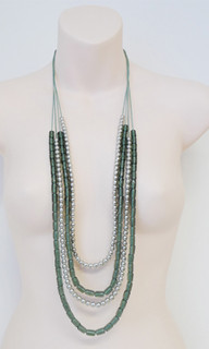 Women's Accessories | FN2590 - Green/Silver Multi-Strand Necklace | FAB