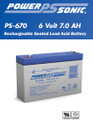 Powersonic PS-670 6 Volt 7.0 AH Battery
