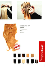 Hair Contrast /Clip on 1 hair extension 45 cm silk hair .