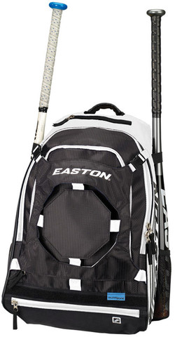 "The Easton Walk-Off  II Bat Pack features plenty of options including two side sleeves which hold 2 bats each.  Multiple pockets that are either padded or zippered for valuables and other gear you may need to throw in.  The three ""J"" style fence/gear hooks can gold gloves, helmets or whatever else is needed.  Not only is this a baseball back pack but it can also be used as a book bag and has a padded laptop sleeve."