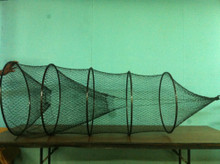 "30"" Hoop Net 1"" mesh, 5 steel hoops, Square flew in front.  Fingered flew in tail, can be fished vertically or horizontally"